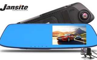 Автомобильный видеорегистратор-зеркало Jansite с двумя камерами